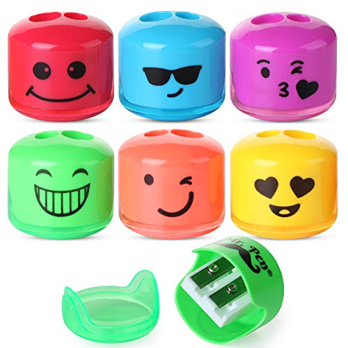 Mr.Pen- Pencil Sharpener, Emoji Sharpener 6 Pack, Pencil Sharpener Kids, Pencil Sharpener for Colored Pencils, Sharpener, Pencil Sharpeners, Pencil Sharpener Manual, Colored Pencil Sharpener, Handheld