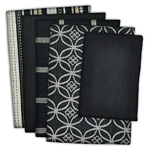 """DII Cotton Oversized Kitchen Dish Towels 18 x 28"""" and Dishcloth 13 x 13"""", Set of 5 , Absorbent Washing Drying Dishtowels for Everyday Cooking and Baking-Black"""