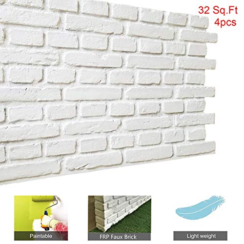 Faux Brick Wall Panels Diy Wall Decoration With Rustic Design Faux Rust Tuscan 3d Brick Wall Panels For Tv Background Wall Exterior Wall 32 Square Feet Box Matt White Buy Online In Gibraltar