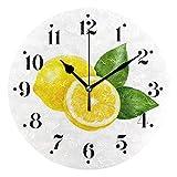 Reloj de Pared con Hojas de Fruta de limón, Reloj de Pared Redondo Decorativo con Pilas para el hogar, Reloj de Cocina, Dormitorio, Sala de Estar, Aula, Reloj de Oficina