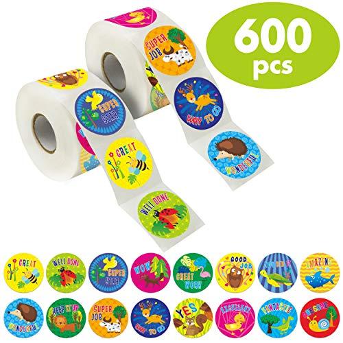 """600 Animal Teacher Reward Encouragement Motivational Sticker in 16 Designs (Expanded Version with 1.5"""" Diameter)."""