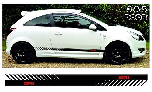 SUPERSTICKI Opel Corsa sri Seitenstreifen Set beidseitig Checker Stripes Vauxhall Rallyestreifen Aufkleber Autoaufkleber Tuningaufkleber Hochleistungsfolie für alle glatten Flächen UV und Wa