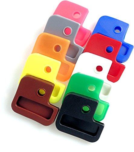van den Heuvel - Bunte Schlüsselkappen (10 Stück) für eckige Schlüssel (24mm x 28mm) mit mehreren Aussparungen