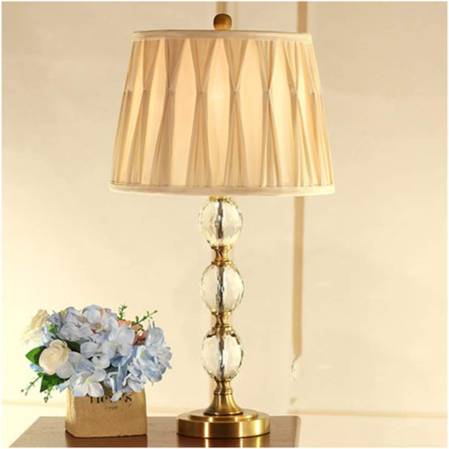 Noble.store Table Lamp American Crystal Warm Bedroom Desk Lamp Bedside Lamp European Wedding Reading Lamp Model Room Living -4628 Table lamp (color   A, Design   Button)