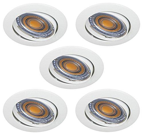 LOT DE 5 SPOT LED RONDE BLANC ORIENTABLE 38° BLANC CHAUD