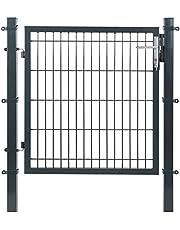SONGMICS Raster Tuinpoort lassen tuindeur met slot en sleutels stevig en duurzaam formaat 106 x 150 cm rastergrootte 50 x 200 mm grijs GGD250G