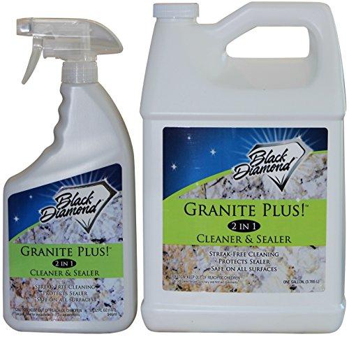 Black Diamond Stoneworks Granite Plus! 2 in 1 Cleaner & Sealer for Granite, Marble, Travertine, Limestone, Ready to Use! (1 Quart/1 Gallon)