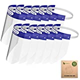 12PCS Reusable Face Shield, Plastic Safety Face Shield Adjustable Transparent Full Face Anti-Spitting Protect Eyes and Face Protection