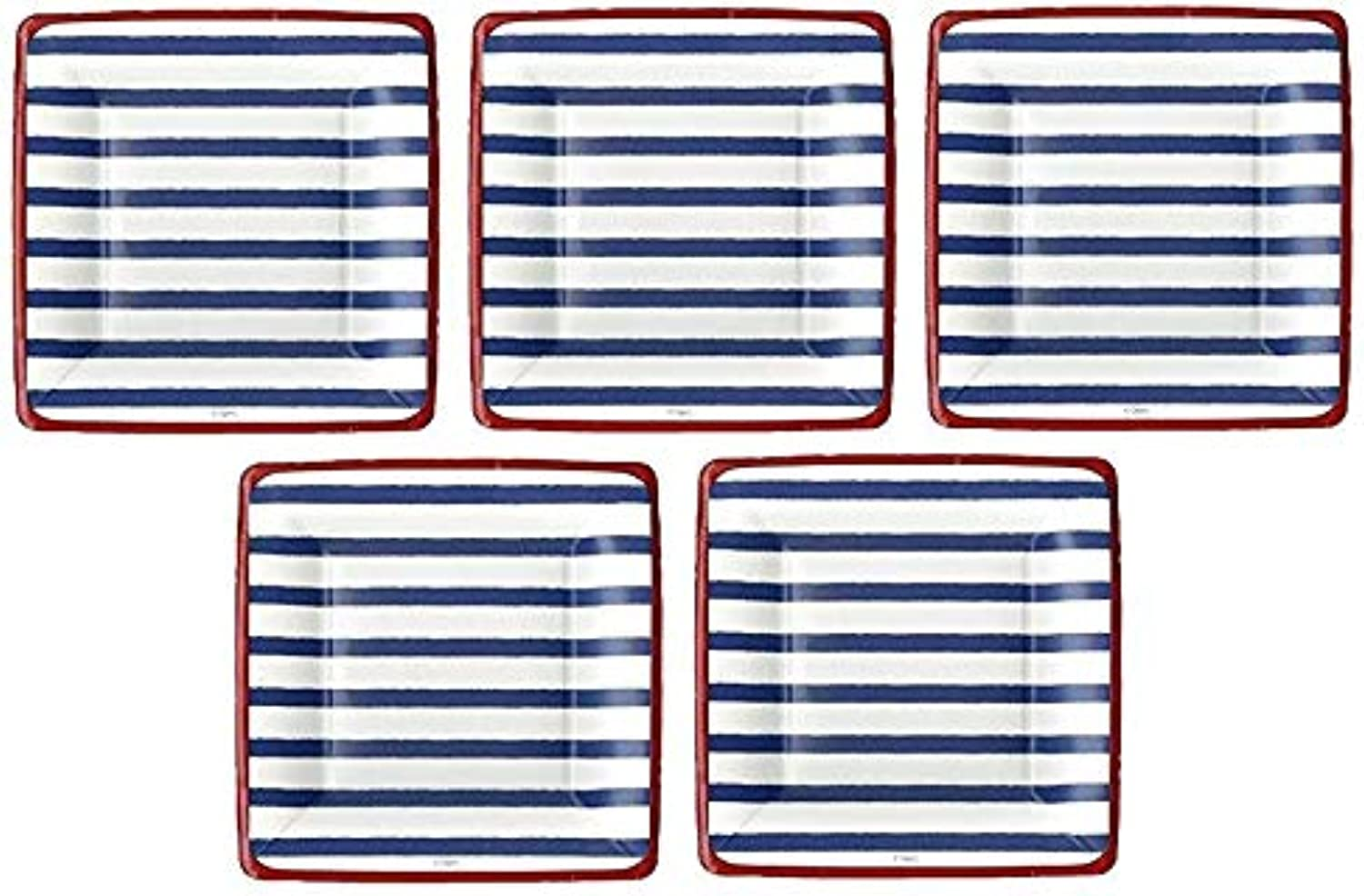 4th of July Party Supplies Paper Plates Salad Desert Size Bretagne bluee 16 Count 7 inch Square (5-(Pack))