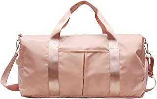 Gym Bag Dry Wet Separated,Waterproof Sports Duffel Bag Training Handbag Yoga Bag with Shoes Compartment, Shoulder Tote Bag Travel Holdall Large Sports Bag for Men and Women (Color : Pink)