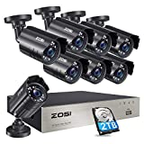 ZOSI 8CH CCTV Camera System H.265+ Video DVR Recorder with 8x Full HD 1920TVL 1080P Indoor Outdoor Weatherproof IP66 Security Cameras 80ft Night Vision with 2TB Hard Drive