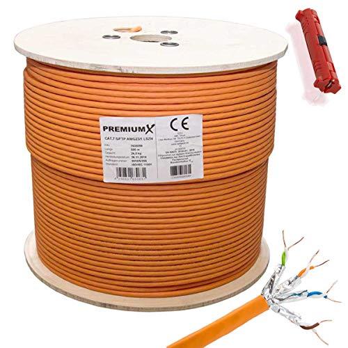 PremiumX 500 Meter CAT 7 Netzwerkkabel Simplex LAN-Kabel Ethernet Datenkabel S/FTP PiMF Eca Cat7 Verlegekabel Installationskabel Cat.7 inkl. Entmanteler