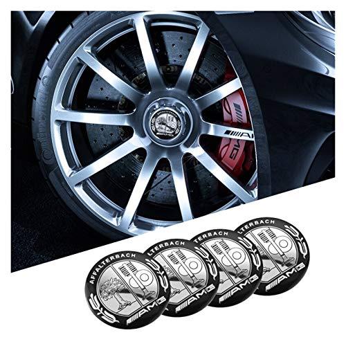 Tapas Para Llantas 1set Coche Pegatinas de la rueda de automóviles 56 mm Auto Center Hub Cap Decal Compatible con Mercedes Benz AMG W203 W204 W205 W210 W211 W212 W213 W214 W220 W221 Insignia del emble