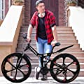 NANDIYNZHI 26 Inch Folding Mountain Bike with 21 Speed, Adults Bicycle Mountain Bike for Women Men, Dual Disc Brakes Full Suspension Non-Slip Suitable for Mountain Wasteland Roads Cities[US in Stock]