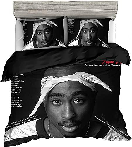 ANFDGD Biancheria da letto 135 x 200 cm, Tupac Amaru Shakur, set copripiumino + federa, per ragazzi e ragazze e ragazzi (YR-07,200 x 200 cm + 50 x 75 cm x 2)