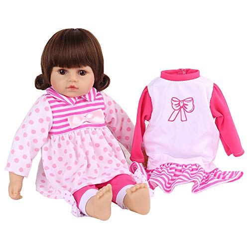 CHAREX Reborn Baby Doll Girl, 16 Inch Soft Silicone Realistic Baby Dolls with Two Sets of Clothes, Best Birthday Set for Kids Age 3