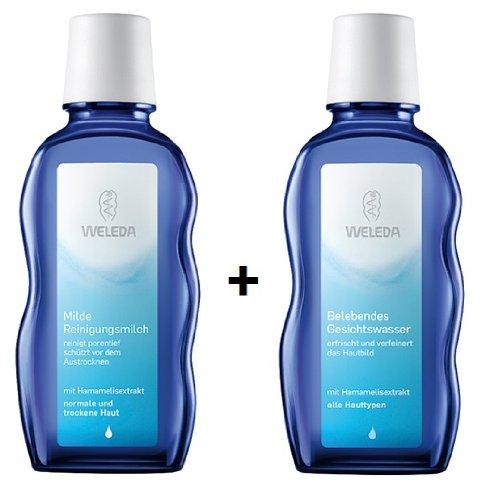 Weleda  milde Reinigungsmilch 100 ml + belebendes Gesichtswasser 100 ml