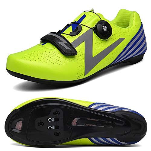 JKC Zapatos de Bicicletas Hombres Carretera Ciclismo Zapatos de Bicicleta de Montaña Sapatilha Ciclismo MTB Ciclismo Zapatilla Triatlón Racing Zapatos, color Verde, talla 45 1/3 EU