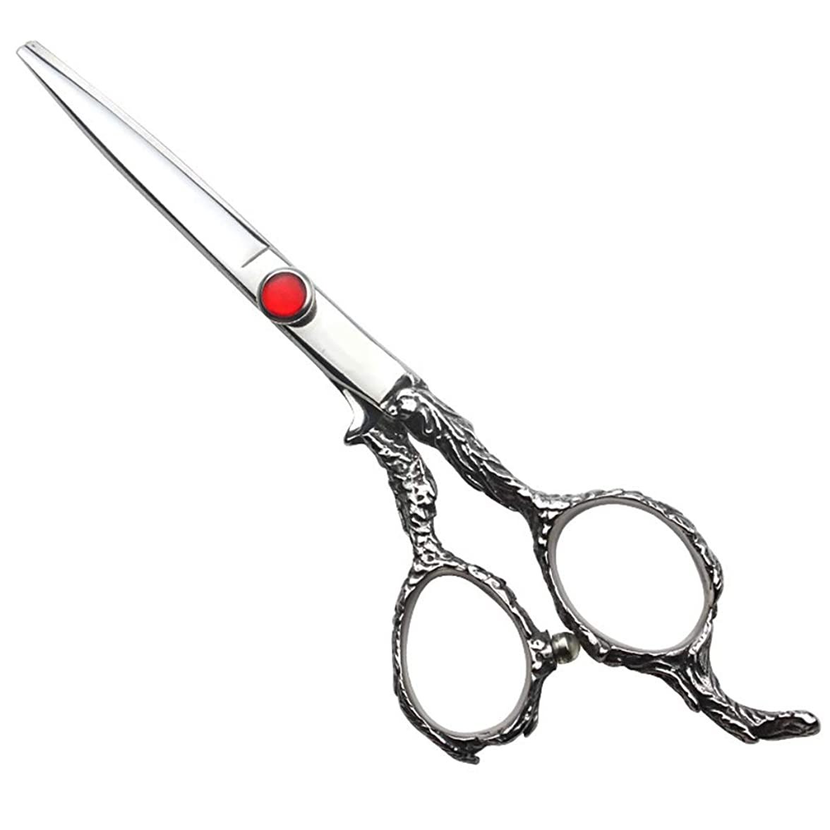 課すうなり声練習した家族6インチの理髪はさみ、美容院の専門のヘアカットの直線はさみ モデリングツール (色 : Silver)