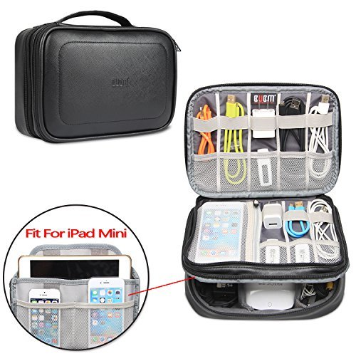 """BUBM Electronic Organizer, Pu Double Layer Travel Gadget Storage Bag for Cables, Cord, USB Flash Drive, Power Bank and More-a Sleeve Pouch for 7.9"""" iPad Mini (Medium, Black)"""