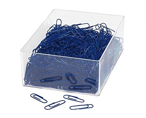Wedo 901244699 Büroklammer aus Metall 27 mm, kunststoffummantelt, in Klarsichtdose (1000 Stück, Blau)