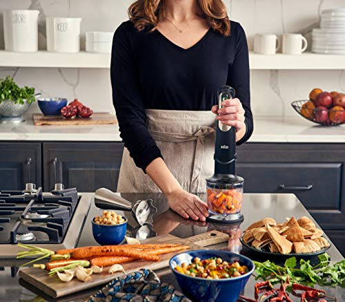 Braun 4-in-1 Immersion Hand Blender, Powerful 400W Stainless Steel Stick Blender, Variable Speed + 1.5-Cup Food Processor, Masher, Whisk, Beaker, Easy to Clean, MultiQuick MQ727