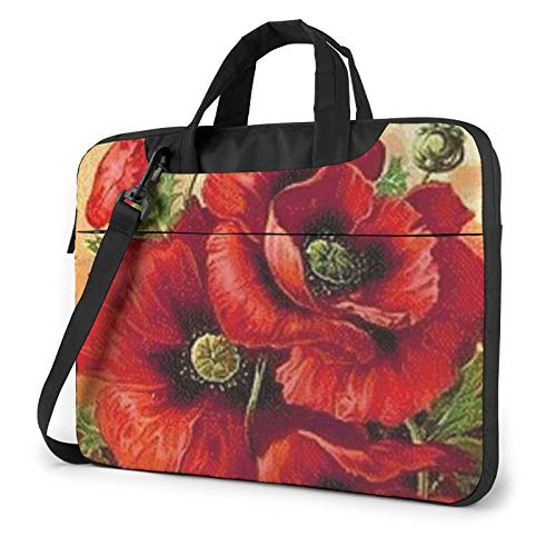 Beautiful Red Poppy Flower Unisex Laptop Shoulder Bag Messenger Case for Computer Briefcase Carrying Sleeve