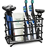 HYRIXDIRECT Toothbrush Holder Stainless Steel Rustproof Bathroom Electric Toothbrush Holder Toothpaste Storage Organizer Stand for Vanity Countertops (Black-02, Large)