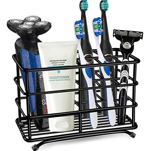 Toothbrush Holder Stainless Steel Rustproof Bathroom Electric Toothbrush Holder Toothpaste Storage Organizer Stand for Vanity Countertops (Black-02, Large)