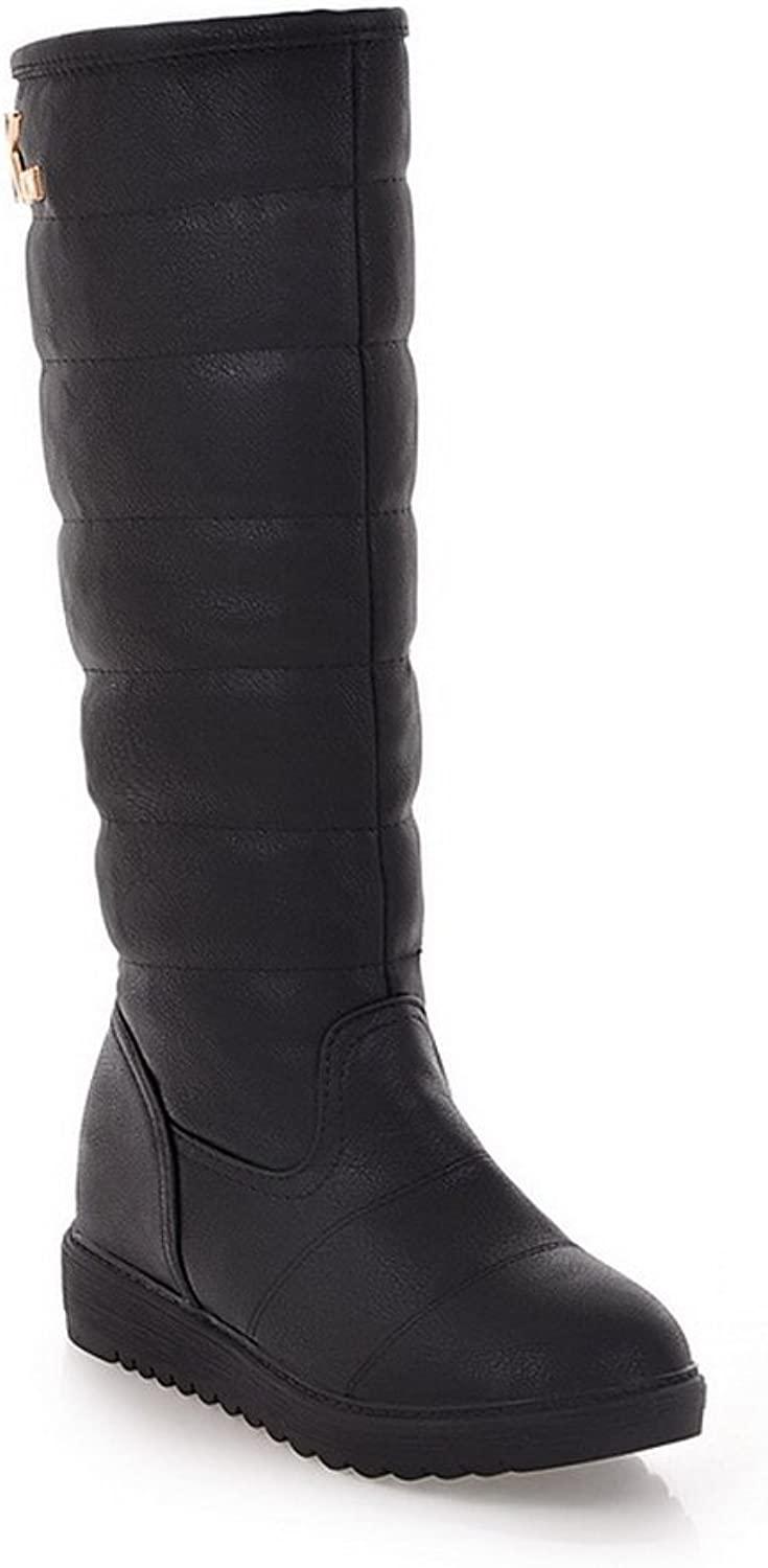 WeiPoot Women's Solid Round Closed Toe Soft Material PU High-Top Boots, Black, 39