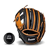 Franklin Sports Teeball Glove - Left and Right Handed Youth Fielding Glove - Synthetic Leather Baseball Glove - Ready To Play Glove (RTP) - 9.5 Inch Left Hand Throw - Black/Tan with Ball