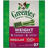 GREENIES Weight Management Regular Natural Dog Dental Care Chews Weight Control Dog Treats, 27 oz. Pack (27 Treats)