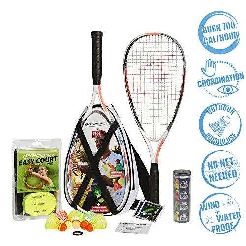 Speedminton S900 Set - Original Speed Bádminton/Crossminton Professional Set con 2 raquetas de carbono incl. 5 velocidades, campo de juego, bolsa