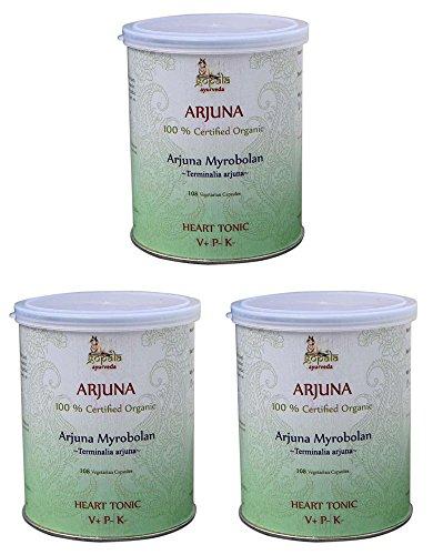 Arjuna Bio (108 Veg Kapseln - 3er pack) - Terminalia arjuna 500mg je Kapsel - 100% Bio-zertifiziertes pflanzliches Nahrungsergänzungsmittel der Lacon GmbH