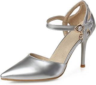 BalaMasa Womens ASL06117 Pu Block Heels