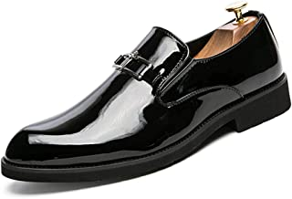 Sygjal Men's Business Oxford Casual Personality Fashion Retro Brush Color Breathable Patent Leather (Color : Yellow, Size : 39 EU)