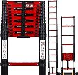 Fitprobo Escalera telescópica de 3,8 m con estabilizador, de aluminio, multiusos, carga máxima de 150 kg