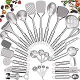 Stainless Steel Kitchen Utensil Set- Fungun 28 Pcs Cooking Utensils - Nonstick Kitchen Utensils Cookware Set with Spatula - Best Kitchen Gadgets Kitchen Tools Kitchen Accessories