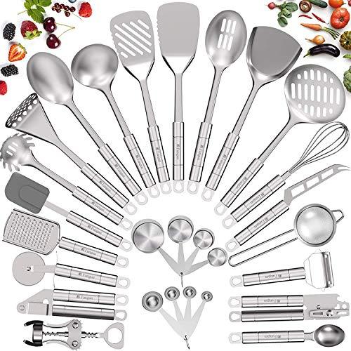 Fungun Küchenhelfer-Set aus Edelstahl, Kochutensilien, Antihaft-Küchenutensilien, Kochgeschirr-Set mit Pfannenwender, 28-teilig