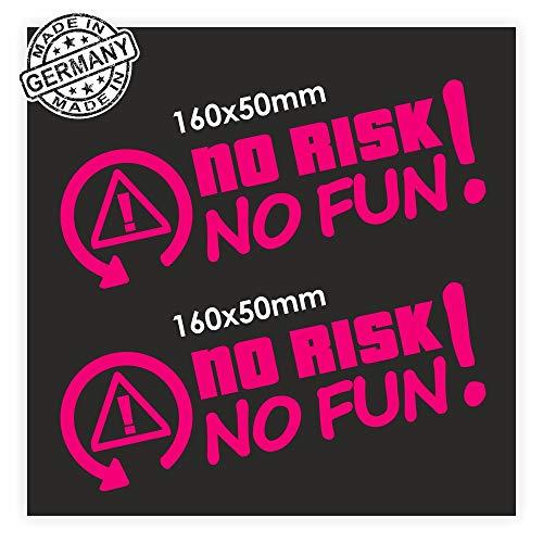 folien-zentrum 2X No Risk No Fun 16 x 5 cm Pink Aufkleber Tuning 258 Shocker Auto JDM OEM Dub Decal Sticker Illest Dapper Oldschool Folie