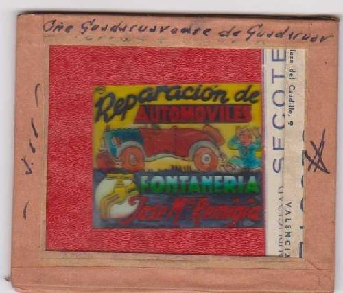 Antigua PUBLICIDAD EN CRISTAL PARA CINES : Reparación de Automóviles, Fontanería José MªRemigia - Guadasuar