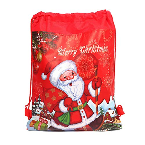 Merry Christmas Drawstring Bag, Santa Claus Theme Drawstring Gifts Bags Cinch Kids Favors Baby Backpack Happy Birthday Party