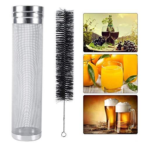 Filtro de malla de acero inoxidable para cerveza seca, filtro de lúpulo de cerveza de acero inoxidable con kit de cepillo de limpieza de malla de 300 micrómetros para barriles(Los 7 * 29cm)