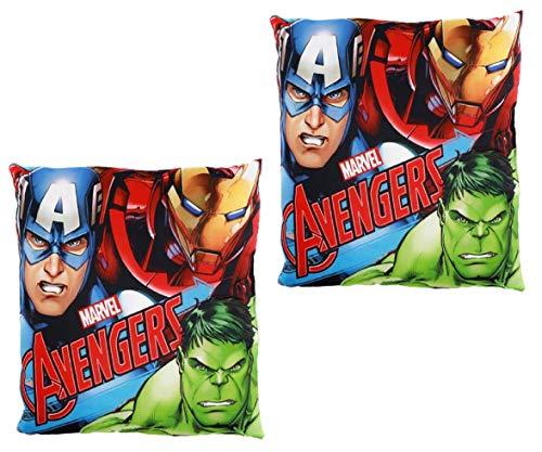 VM Pack de 2 Cojines de los Vengadores para niños, cojin Avengers de 40x40cm (Verde-Azul)