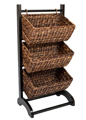 BIRDROCK HOME 3-Tier Abaca Storage Organizer Shelf - Brown - Extremely Durable Abaca Fiber - Solid Wood Frame - 3 Baskets - Great Cubby for Food, Fruit, Toys, Clothes, Towels, etc - Display Tower