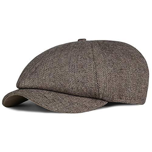 IBFUN Boina - para Hombre Gris Grey Herringbone Gorra de Peaky Blinders Sombrero de Espiga para Hombre Tweed, Plano, Gatsby
