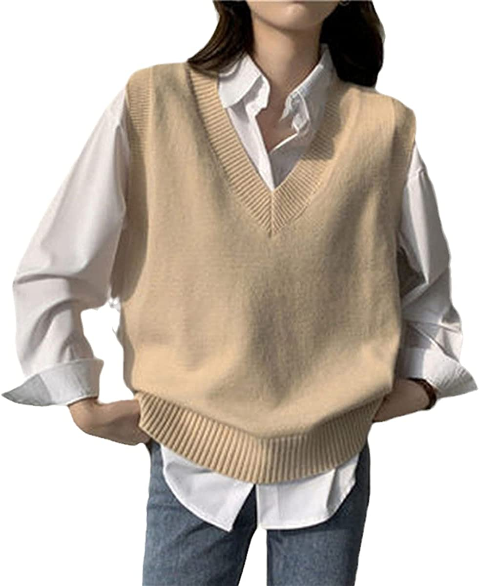 Fashion Autumn And Winter Sleeveless Sweater Vest Women V-Neck Solid Color Simple Slim All-Match Sweater