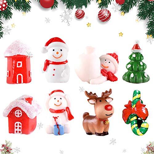 Sunshine smile 8pcs Weihnachten deko Figuren,Mini Weihnachten Deko,Weihnachtliche Minifiguren,Weihnachten Mini Ornamente Set,DIY Zubehör Kunstharz Miniatur,Schneemann,Weihnachtsmann, Tischdeko