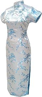 فستان شيونغسام صيني طويل أزرق فاتح مزين بالزهور للسيدات من 7Fairy Sexy