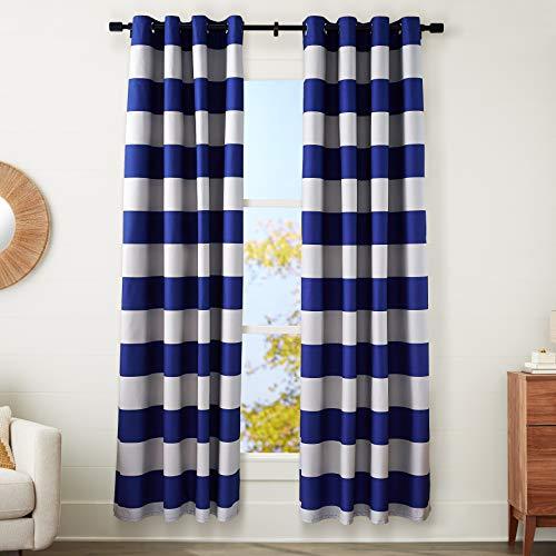 "Amazon Basics Room-Darkening Blackout Curtain Set with Grommets - 52"" x 96"", Navy + Gray Stripe"